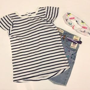 JUST IN - Carter's Girls Navy & White Striped Top